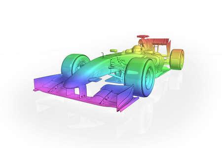 High quality illustration of a rainbow effect Formula 1 racing car illustration