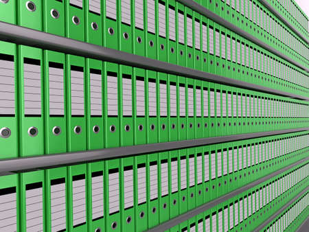 organised: Illustration of shelves of neatly organised green files