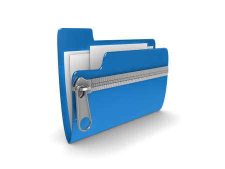 compressed: 3d illustration representing a zipped or compressed folder of documents