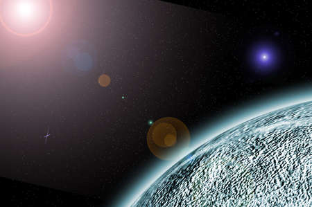 graphic of an earthlike planet in space, suitable as a background Stock Photo - 507394