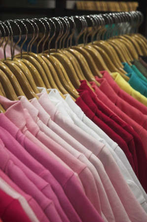 craze: closeup view of clothes in a ladies clothing store