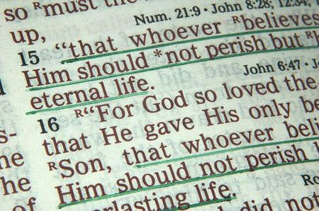 Biblia el versículo Juan 3:16  Foto de archivo - 517366