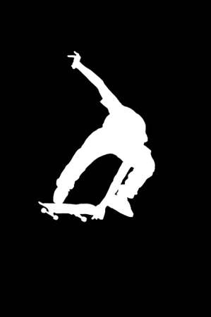 Silhouette of a boy on a skateboard isolated on a black background  photo