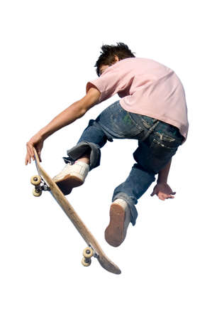 midair: skateboard rider isolated on a white background
