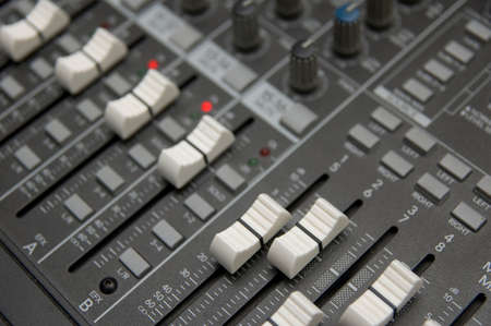 closeup view of a DJ's mixing desk with shallow depth of field Stock Photo - 1668929