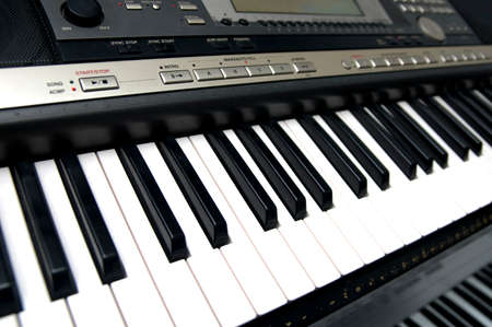 synthesiser: closeup view of a synthesiser keyboard Stock Photo