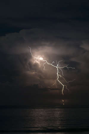 Brilliant forked lightning over the ocean Stock Photo - 4482364