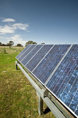 self sufficient: solar panel on a property used to power self sufficient living.  Part of a series