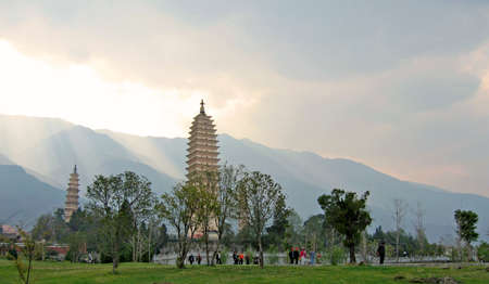 towering buddhist temples in the afternoon light in dali, china