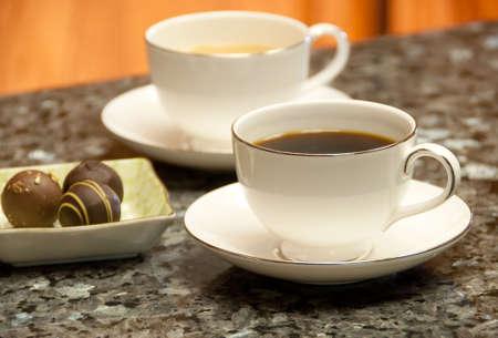 black and white coffees with fresh belgian truffles 版權商用圖片