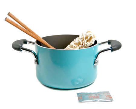 a pot of ramen noodles, the poor students dinner Stock Photo