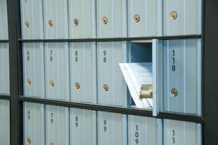mail waiting in the u.s. greyblue post office box Stock fotó