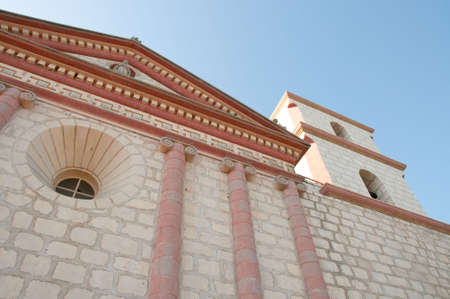 an upward view of mission santa barbara and its bell tower Banco de Imagens - 5744911