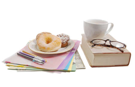 coffee break with donuts and a pile of work Stock fotó