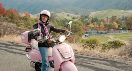lady biker in the foothills of mt. diablo, california Stock Photo
