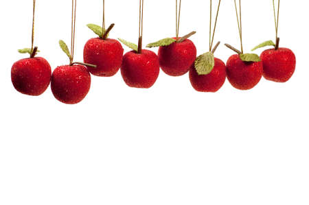 hanging fruit ornaments with copy space at bottom