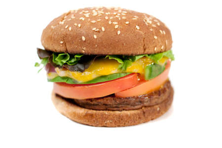 portabello patty with melted cheese, tomatoe and wholewheat buns Stock Photo