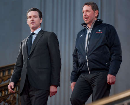 SAN FRANCISCO - FEB 20, 2010: SFO Mayor Gavin Newsom (L) walks down City Hall with CEO Larry Ellison to celebrate the return of the Americas Cup at City Hall