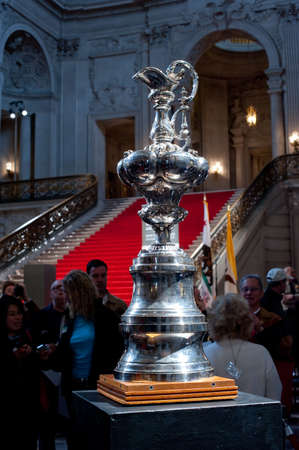 SAN FRANCISCO - FEB 20: The all silver America's Cup on view in the rotunda at City Hall on Feb 20, 2010 in San Francisco