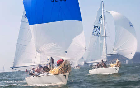 SAN FRANCISCO - SEPT 27, 2009: the 8th race of the J24 US National Championship. #7, Bogus, races ahead and wins the championship. Editorial