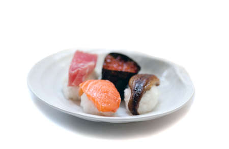 sushi with shallow depth of focus on the salmon