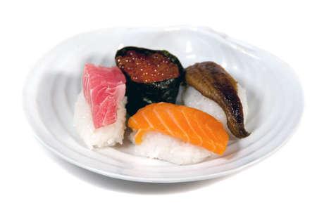 tuna, salmon, unagi and salmon roe sushi