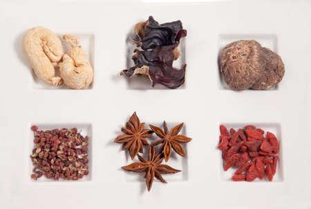 clockwise, l to r: gingseng, wood ear, shitake mushroom, szechuan pepper corn, star anise, dried medlar