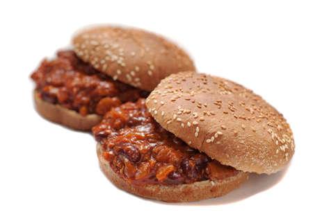 Sloppy joes met soja hamburger en kidney bonen