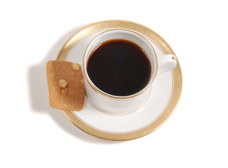 coffee and biscuit isolated on white