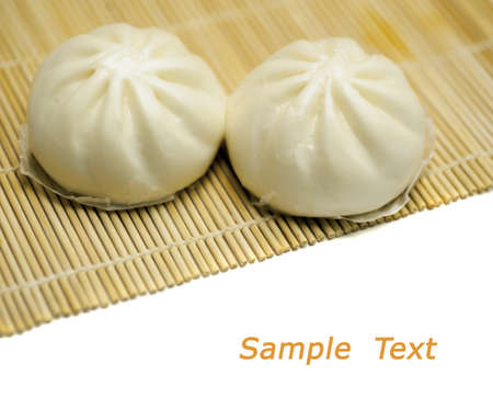 chinese baoze isolated on white with copy space Banco de Imagens