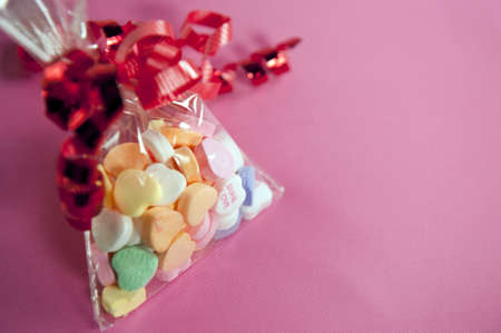 heart candies with copy space