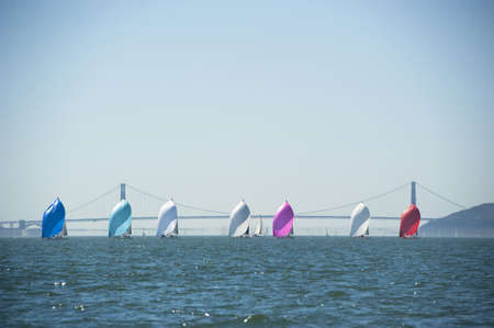 sailboats in a row