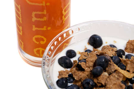 orange juice and blueberry flakes and milk