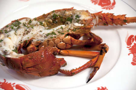 closeup of lobster on seafood plate Banco de Imagens