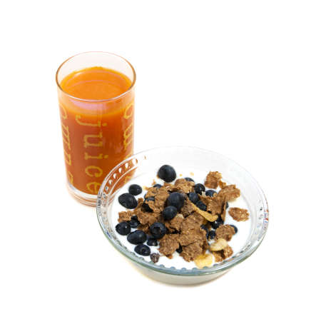 o.j. and blueberry whole wheat cereal breakfast