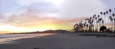 sunset with santa barbara's palm trees Archivio Fotografico