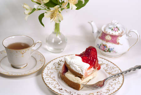 tea time with straberry cake