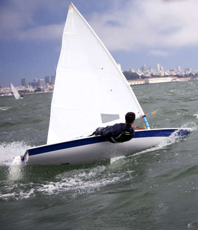 small sailboat on san francisco bay