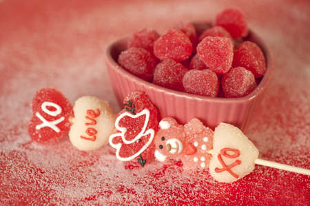 heart shaped candies in a heart shaped platter