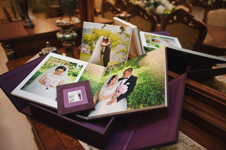 textile vintage wedding photo book album Stock Photo