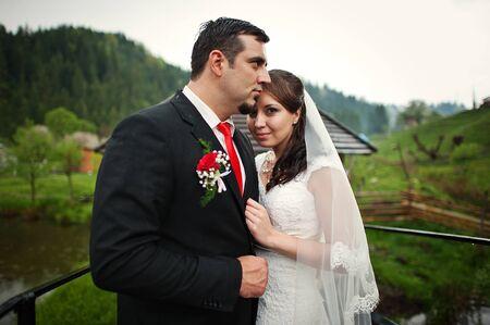 newlywed couple: wedding couple at the small bridge Stock Photo