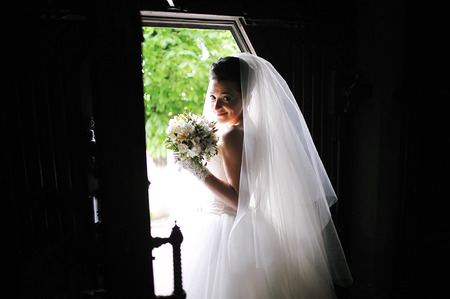 siluet: bride at the old catholic church