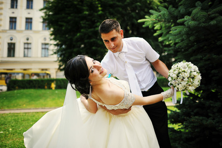 woman wedding: dance wedding couple in love Stock Photo