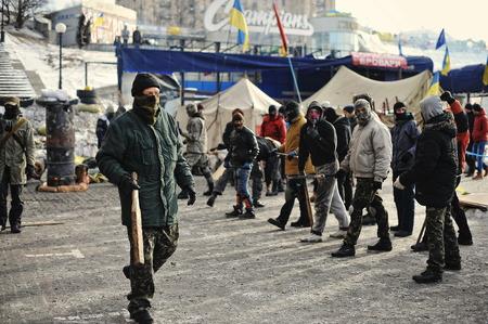 insurrection: KYIV, UKRAINE - JANUARY 2014: Euromaidan. Revolution of Freedom.