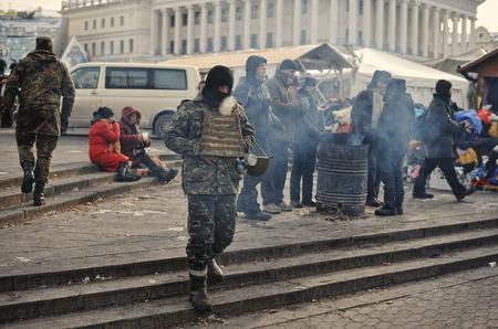 revolution: KYIV, UKRAINE - JANUARY 2014: Euromaidan. Revolution of Freedom.