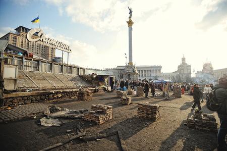 maidan: KYIV, UKRAINE - FEBRUARY 2014: Euromaidan. Revolution of Freedom. Editorial