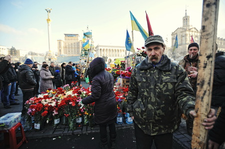 insurrection: KYIV, UKRAINE - FEBRUARY 2014: Euromaidan. Revolution of Freedom. Editorial
