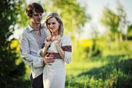 Romantic couple on traditional dress photo