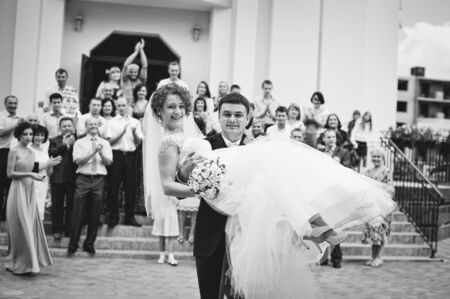 debutante: Happy newlyweds after church registration