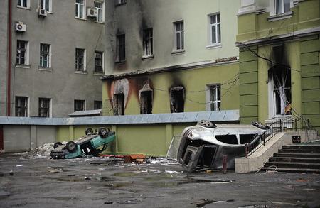 insurrection: Ternopil, UKRAINE - FEBRUARY 2014: Euromaidan. Revolution. Wrecked police car